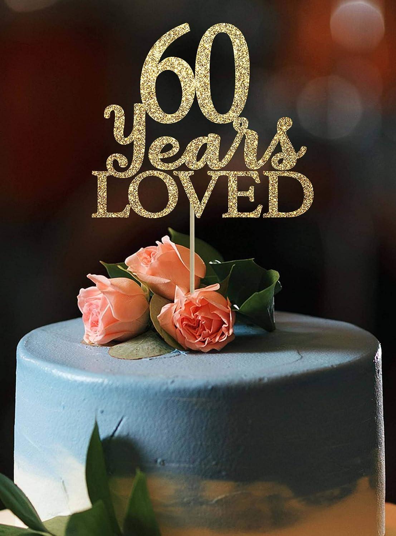 Peachy Amazon Com Kiskistonite Happy 60Th Birthday Cake Topper Gold Personalised Birthday Cards Sponlily Jamesorg