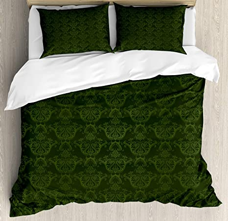Amazon Com Lunarable Hunter Green Duvet Cover Set Victorian Damask Rococo Renaissance Swirled Classic Floral Petals Pattern Decorative 3 Piece Bedding Set With 2 Pillow Shams King Size Green Home Kitchen