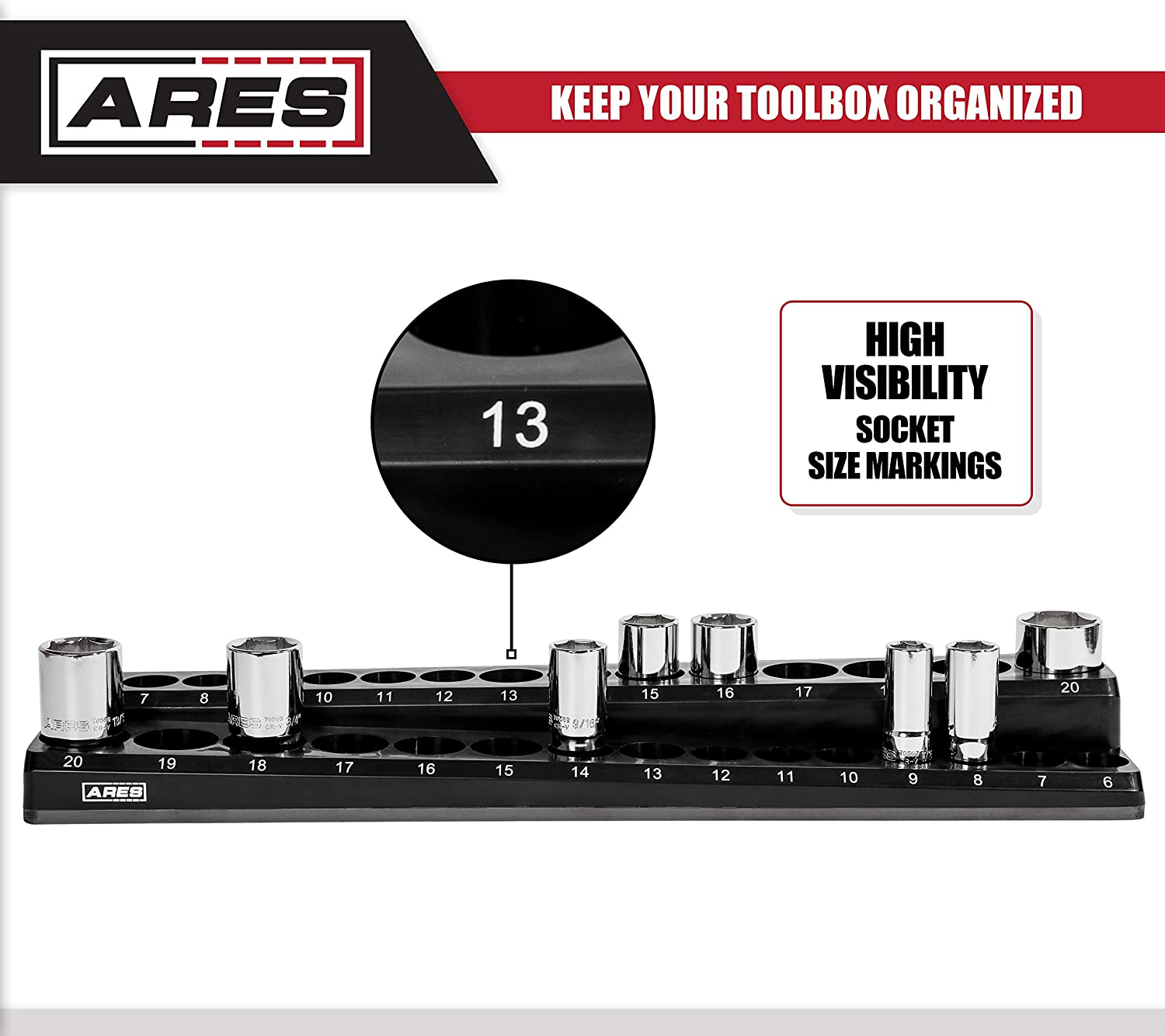 30-Piece 3//8-Inch Metric Magnetic Socket Holder ARES 70235 Securely Holds 15 Standard and 15 Deep Size Sockets In Place Keeps Your Tool Box Organized