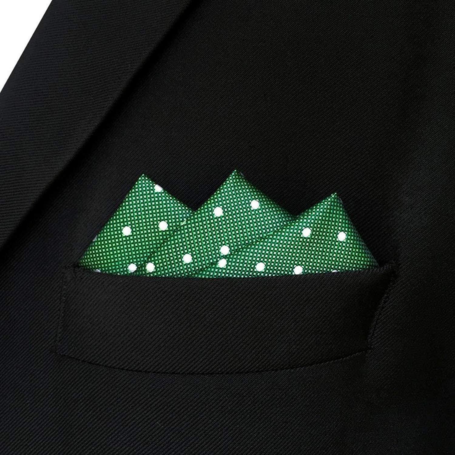 SHLAX/&WING Dots Green Pocket Square for Mens Suit 12.6 inches Large Handkerchief