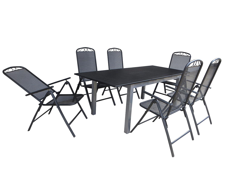 7-teilige Luxus Aluminium Streckmetall Gartenmöbelgruppe Doppler RRR , Klappsessel und Ausziehtisch Detroit 150/210x90 silber, P6