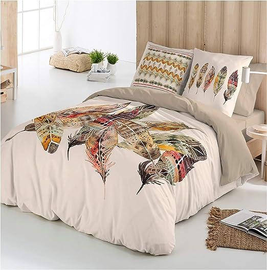 COTTON ART - funda Nordica Modelo BOHO FEATHER cama de 150 / 160 ...