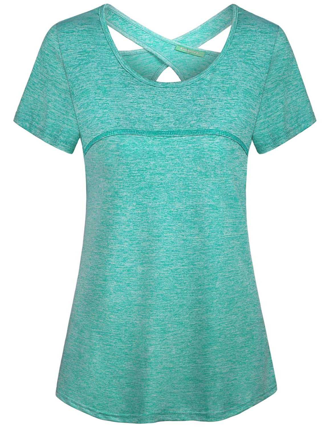 Kimmery Activewear Tops for Women, Loose Fit Sporty Tees Stretchy Thin Airy Fashion Criss Cross Cutout Back Workout Shirts Crew Neck Essential Basic Pilates Hiking Camping House Casual Tunic Green L by connche