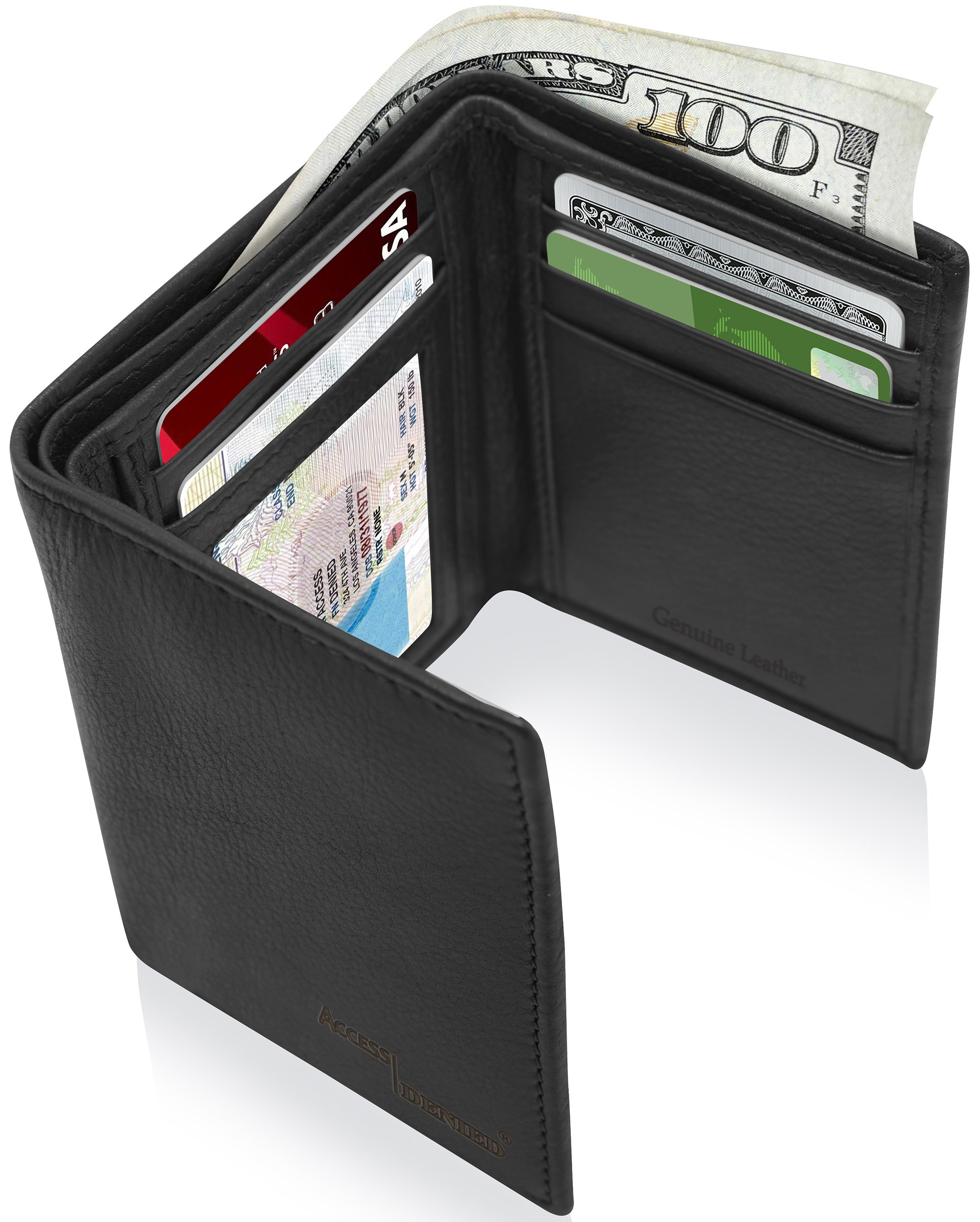 Genuine Leather Wallets For Men - Trifold Mens Wallet With ID Window RFID Blocking,Smooth Black
