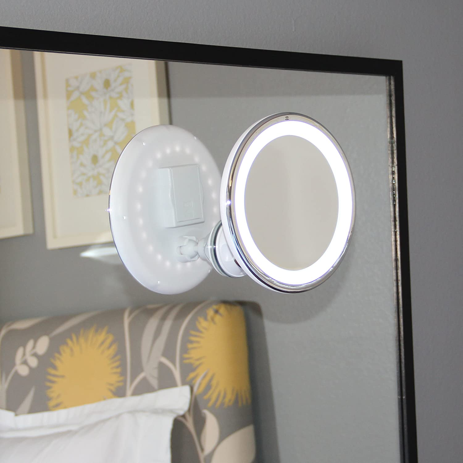 Amazon.com: LED Makeup Mirror   Adjustable 5x Magnification Lighted Makeup  Mirror Vanity. Warm LED Tap Light Bathroom Mirror With Powerful Rotating,  ...