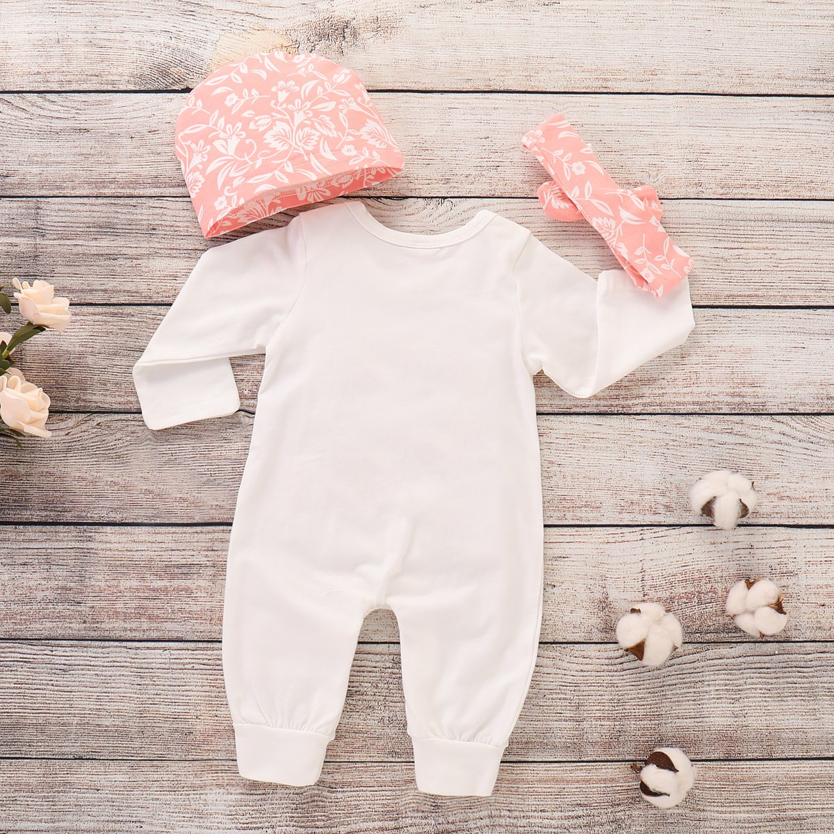 3Pcs Baby Girls Long Sleeve Romper Jumpsuit with Hat and Headband MOLYHUA Little Sister Jumpsuit