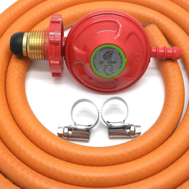 Handwheel 37Mbar Propane Gas Regulator & 2 Metre Hose & 2 Clips 5 Year Warranty igt