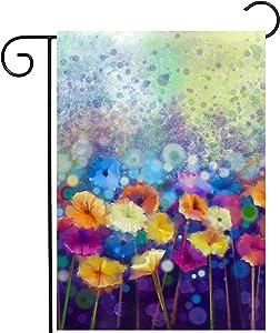 ShineSnow Watercolor Abstract Spring Seasonal Green Floral Daisy Flowers Garden Yard Flag 12