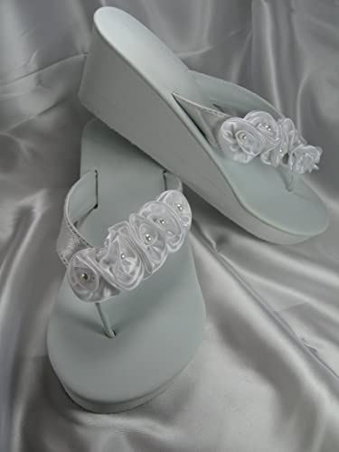 9dda280c3360bc Image Unavailable. Image not available for. Color  White Wedge Bridal  Wedding Sandals with Flowers and Pearls ...