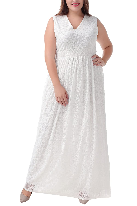 8556f11c114 30%OFF Nemidor Women s V-neckline Full Lace White Plus Size Wedding Maxi  Dress. Women · Casual