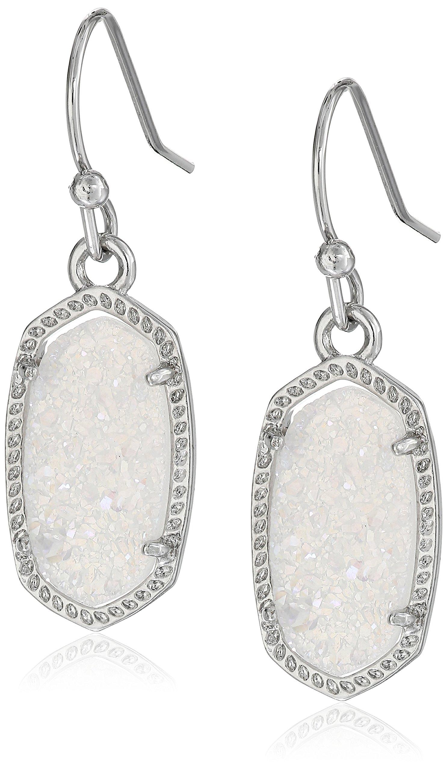 Kendra Scott ''Signature'' Lee Rhodium plated Iridescent Drusy Drop Earrings