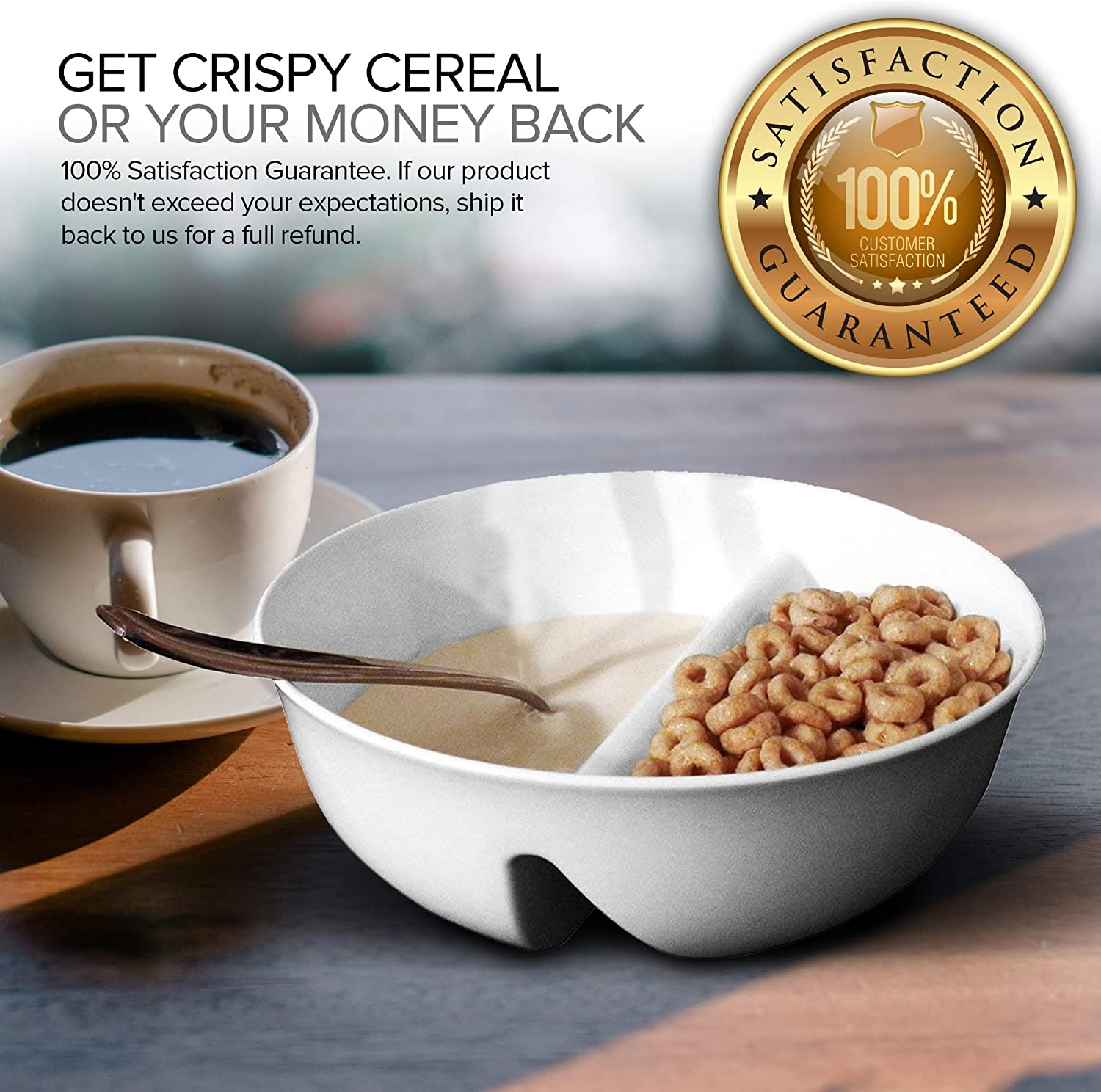   Just Crunch Anti-Soggy Cereal Bowl - Keeps Cereal Fresh & Crunchy   BPA Free   Microwave Safe   Ice Cream & Topping, Yogurt & Berries, Fries & Ketchup and More – White: Soup Cereal Bowls: Cereal Bowls