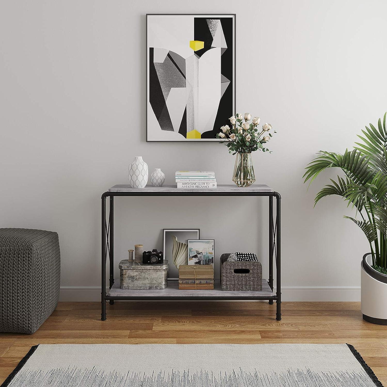 Flurtisch mit Beton-Imitat-Oberfl/äche Sideboard Wohnzimmer Eisenrohr-Beine Betongrau LNT83BG VASAGLE Konsolentisch im Industrie-Design 2 Ablagen f/ür den Eingangsbereich