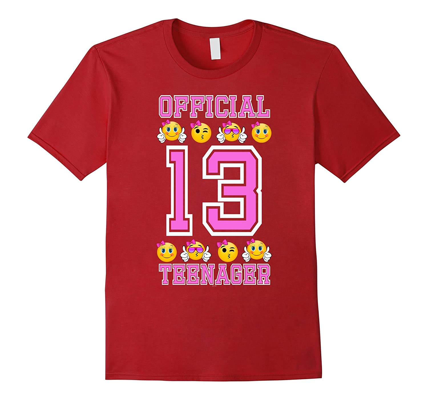Emoji 13th Birthday Gifts For Teenagers Age 13 Girls Tee RT