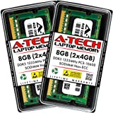 A-Tech 8GB (2x4GB) DDR3 1333MHz SODIMM PC3-10600 204-Pin CL9 Non-ECC Unbuffered Notebook Laptop RAM Memory Upgrade Kit