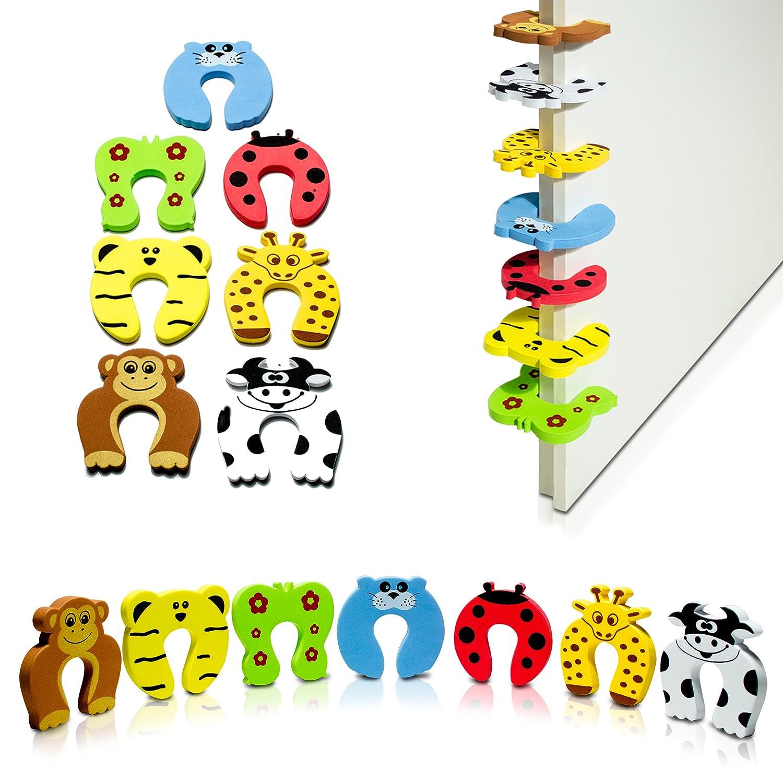 Türstopper 7er Set Tier Motive - Bunt Zoo Design 11 x 11 x 1 cm - Fingerklemmschutz zur Kindersicherung - Grinscard