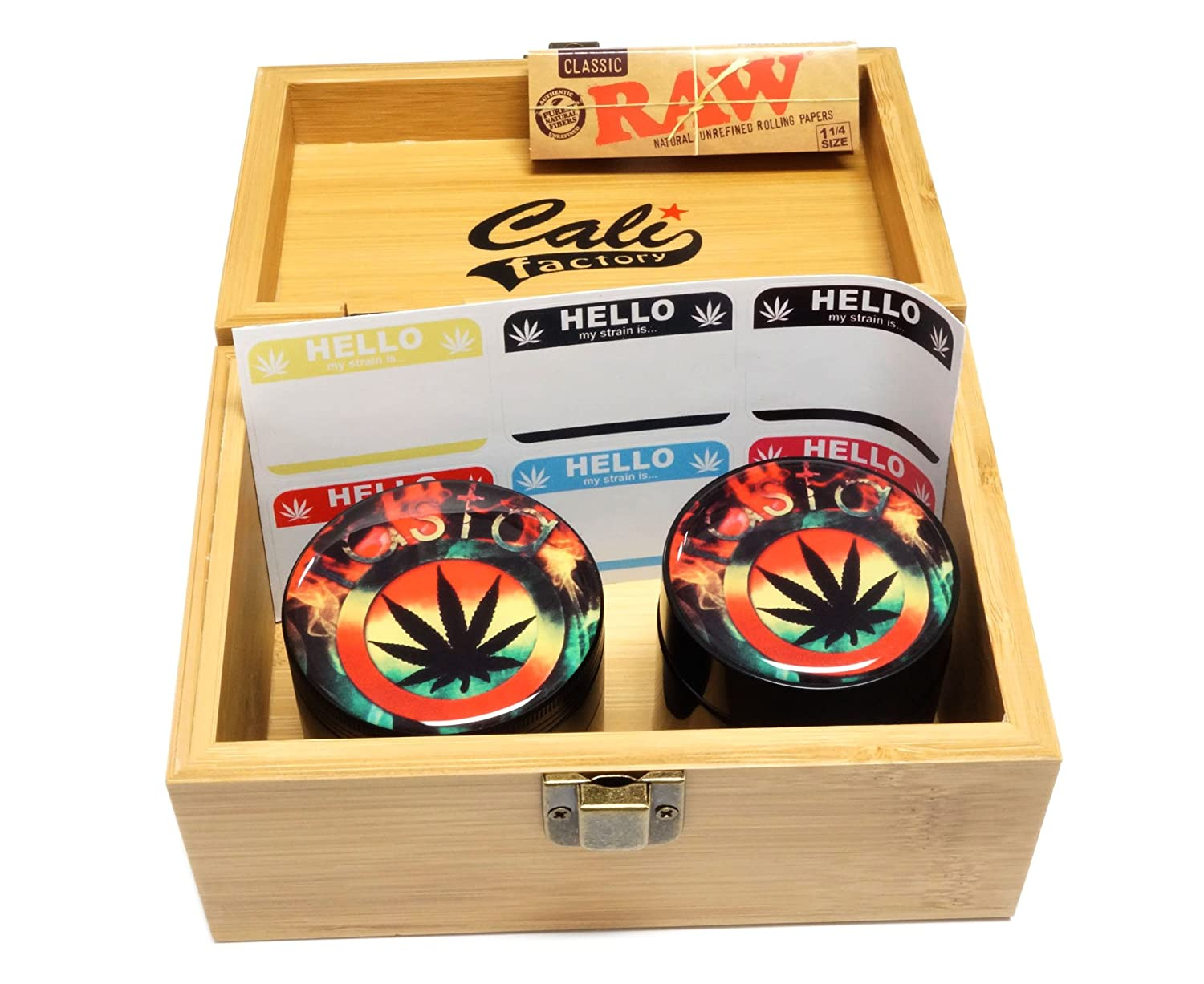 Jar in Medium Size Sacred Geometry Stash Box with Latch Combo Gift Package Item# MED062118-7 Doming USA Grinder Cali Factory Rasta Design