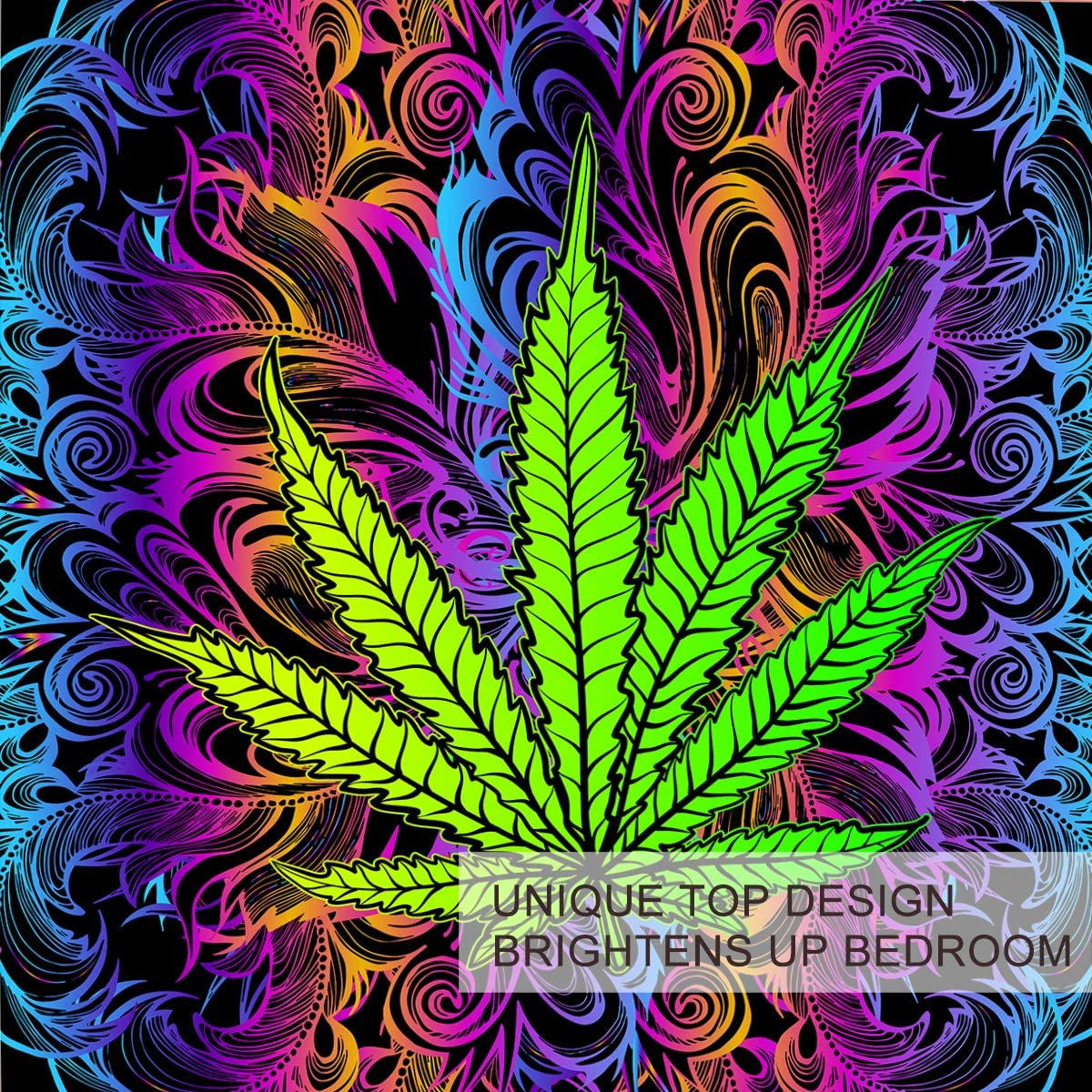 BlessLiving Duvet Cover Set Cannabis Leaf Bedding 3 Pcs Rainbow Weed Bedding Trippy Leaves Bed Set Bohemian Green Purple Full Size Comforter Cover