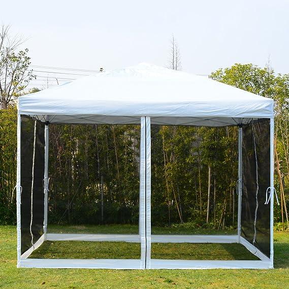 10x10 Outdoor EZ Pop Up Wedding Party Tent Patio Gazebo Canopy Mesh Silver w//Bag