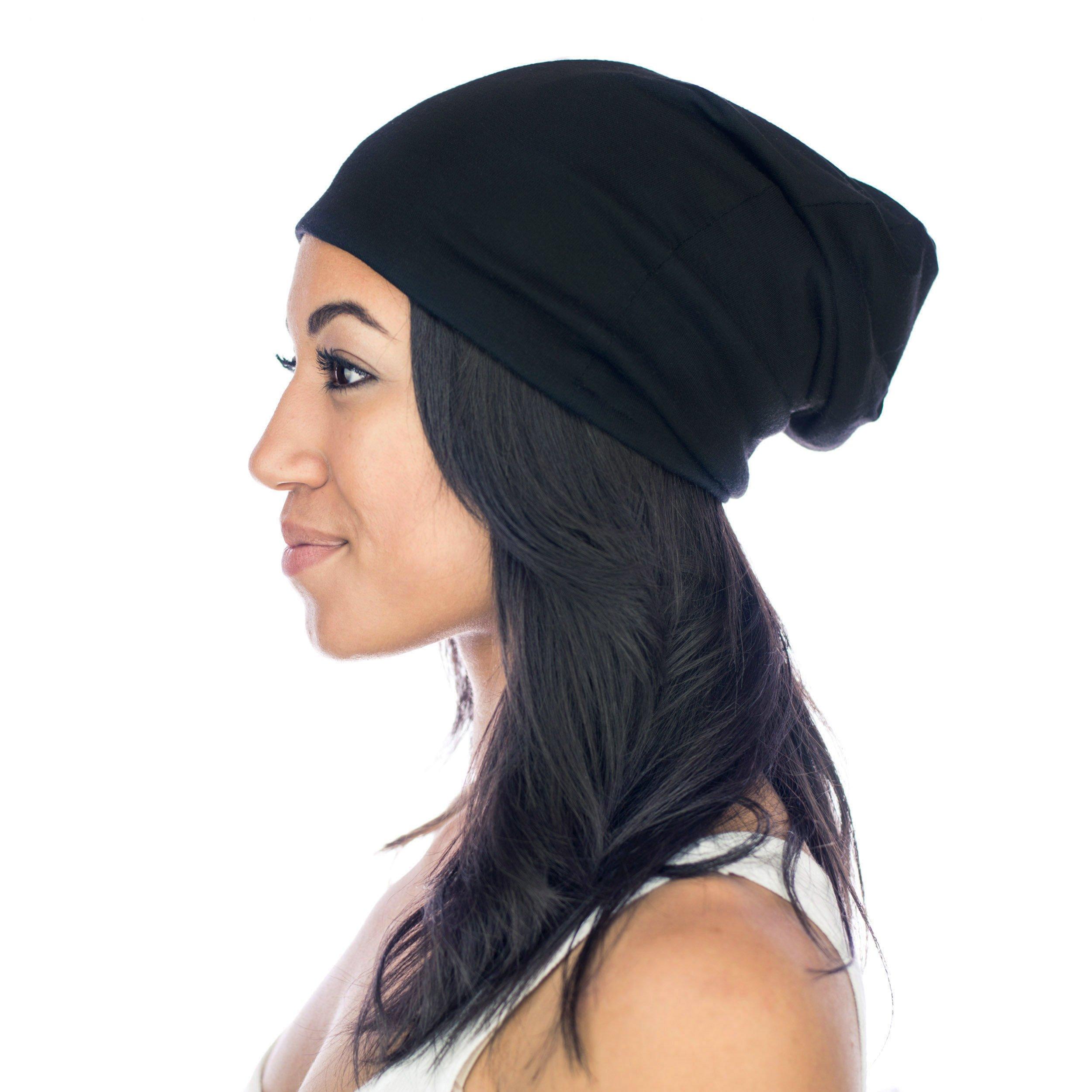 Grace Eleyae [Slap Satin-Lined Sleep Cap, Women's Tam Hat Beanie - Large, Black