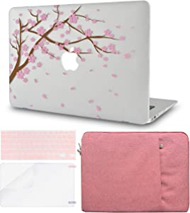 LuvCase 4in1 Laptop Case for MacBook Air 13 Inch A1466 / A1369 (No Touch ID)(2010-2017) Hard Shell Cover, Sleeve, Keyboard Cover & Screen Protector (Cartoon Cherry Blossom)
