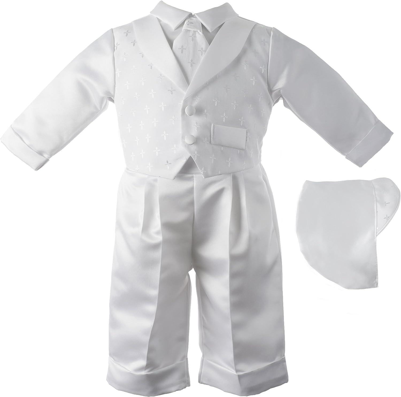 Lauren Madison Baby boy Christening Baptism Infant Vest Set With Satin Pants