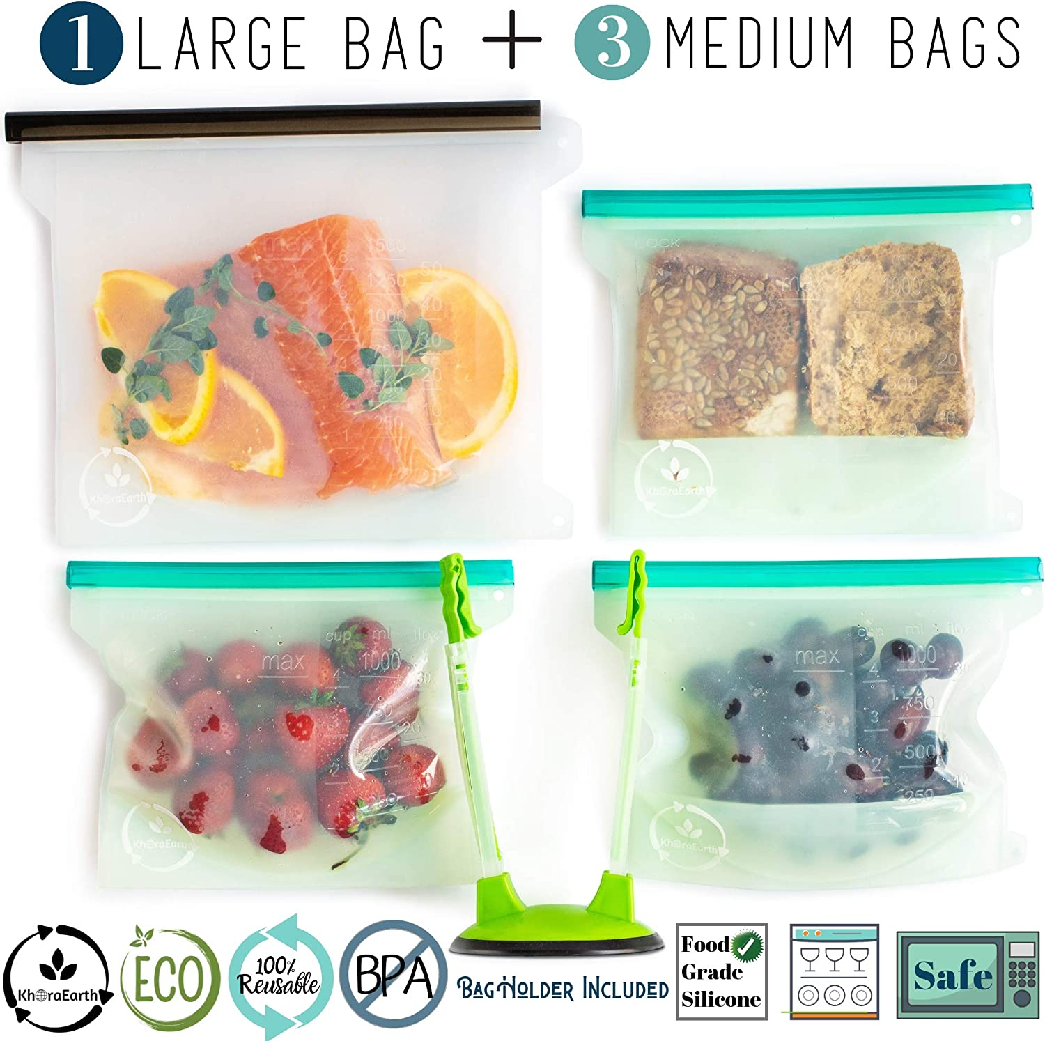 KhoraEarth Reusable Silicone Food Storage Bags - Eco-Friendly Lunch and Snack Bag for Sandwich, Produce, Fruit - Large Lock Tabs for Airtight Sealing - Dishwasher, Freezer, Boiling and Microwave-Safe