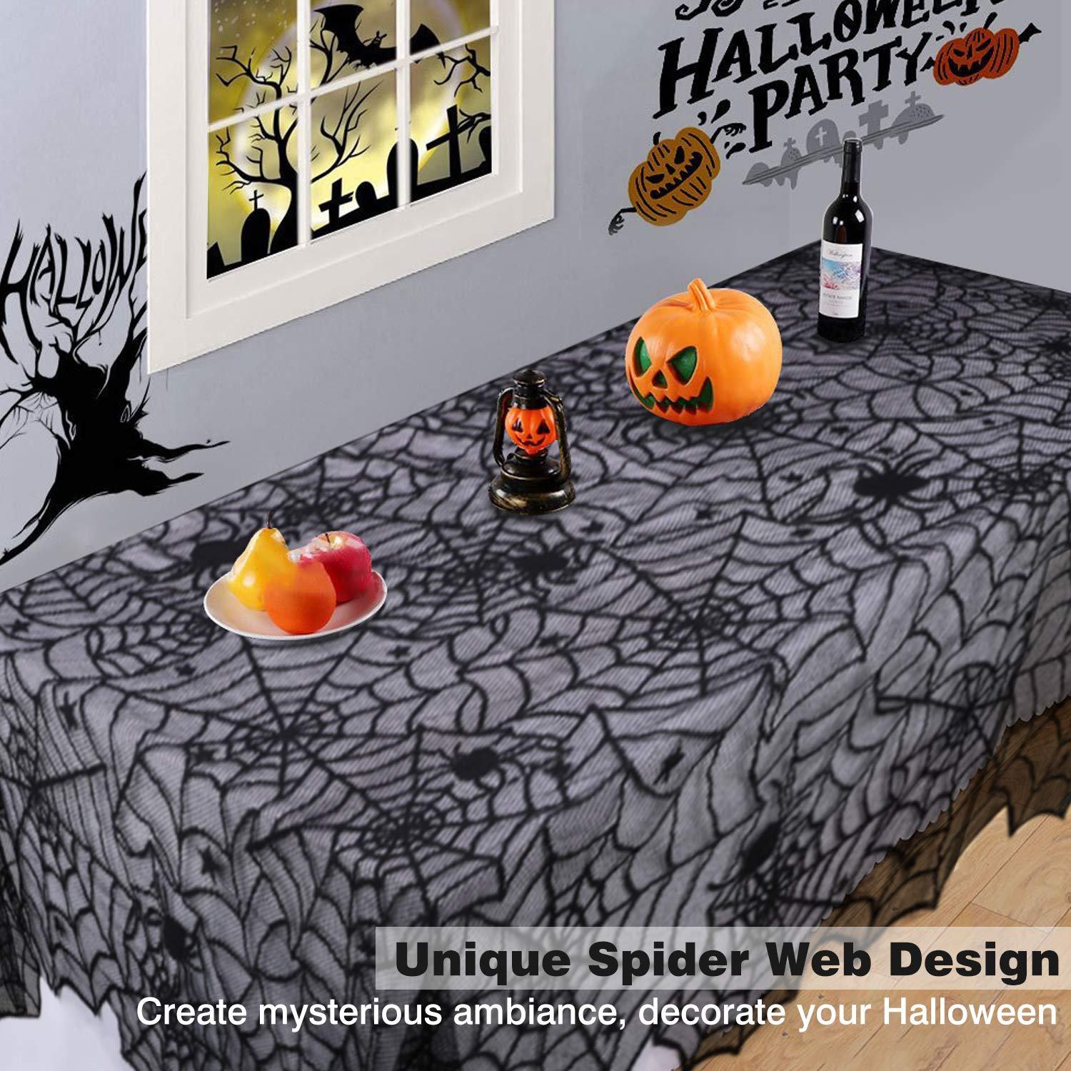 Halloween Spider Web Pattern Table Cover Black Lace Tassel Trim Decorative Tabletop Fireplace Window Cloth for Dinner Party Kitchen Lewondr Fringed Triangle Edge Multifunctional Tablecloth
