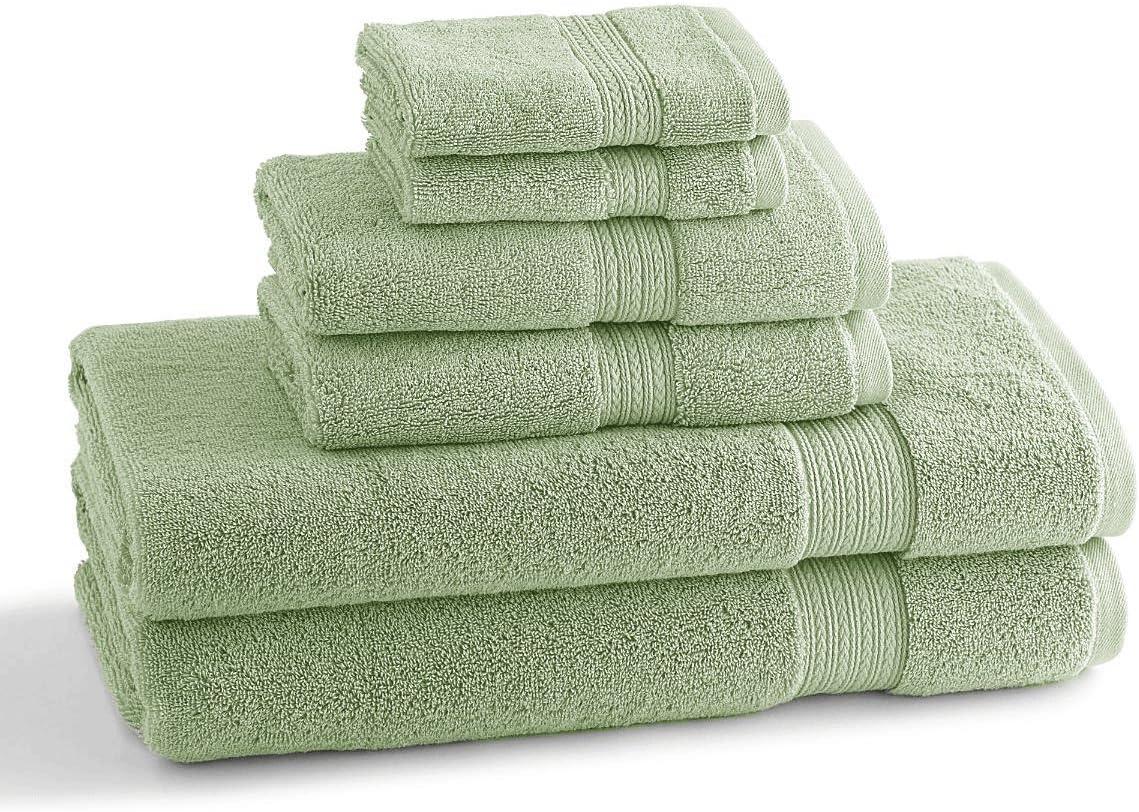 Kassatex KYT-256-Heather Charcoal  Kyoto NEW 6 Piece Towel Set 2 Each Kind