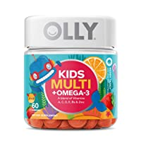OLLY Kids Multi + Omega 3 Gummy Multivitamin, 30 Day Supply (60 Gummies), Berry...