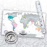 Scrape Off World Map - Weltkarte zum Rubbeln - Rubbel Landkarte Deluxe Poster XXL in Silber