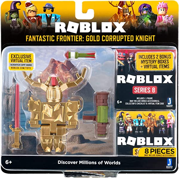 Roblox Celebrity Collection – Fantastic Frontier: Gold Corrupted Knight action figure playset for kids in package