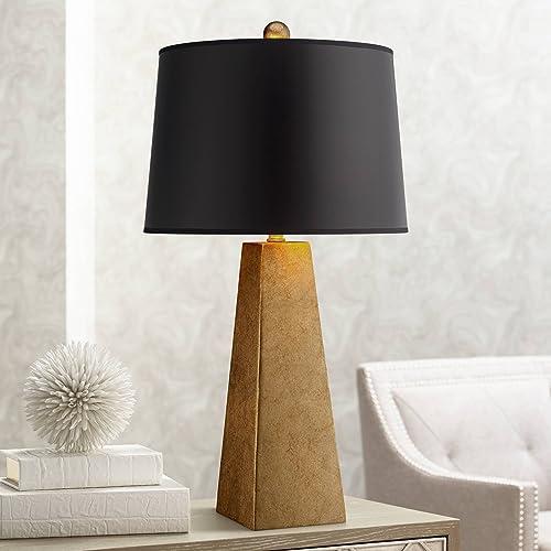 Modern Table Lamp Luxe Obelisk Gold Foil Black Paper Drum Shade for Living Room Family Bedroom Bedside Office – Possini Euro Design