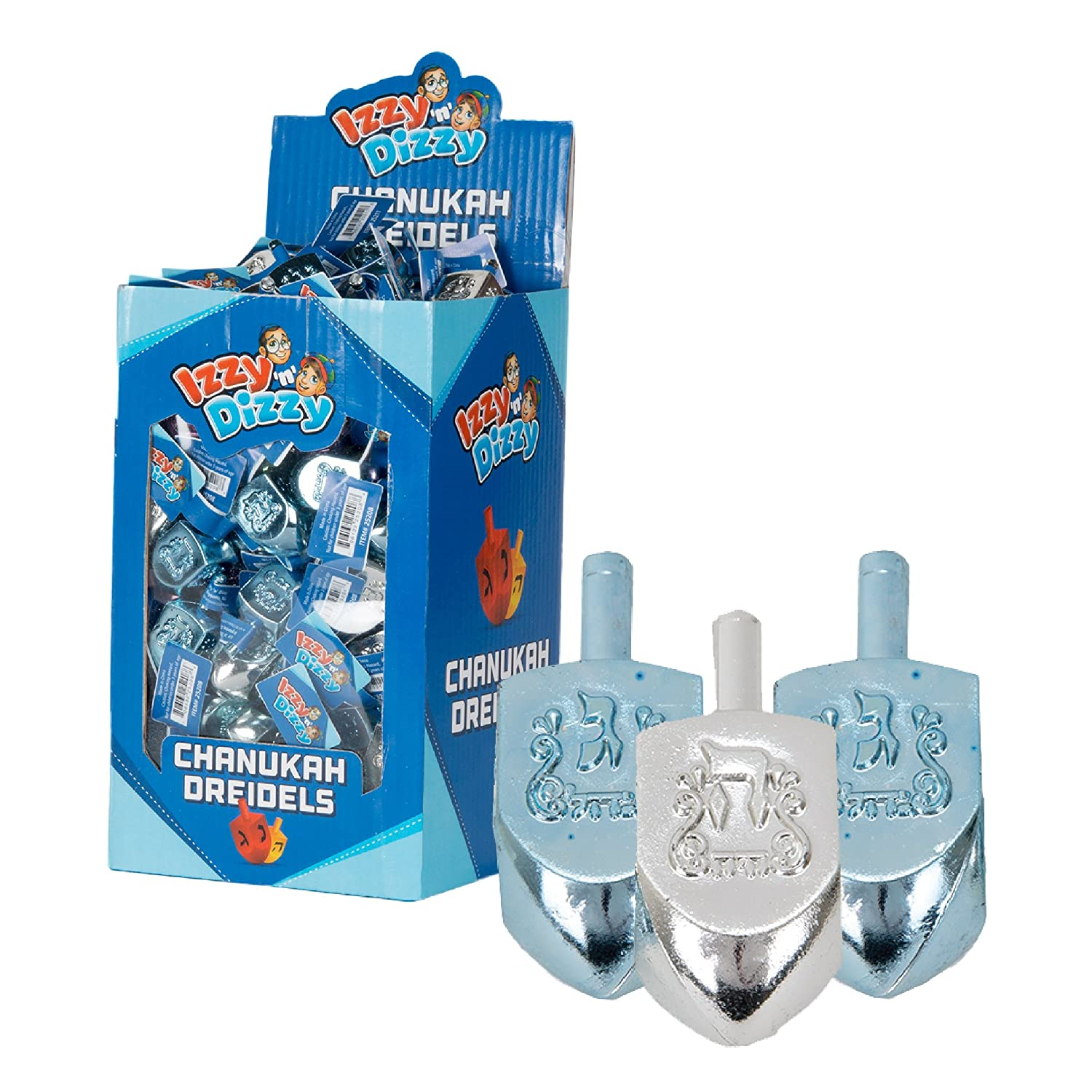 Ner Mitzvah 100 Medium Dreidels Blue and Silver Metallic Classic Chanukah Spinning Draidel Game Gift and Prize Bulk Value Pack by Izzy n Dizzy
