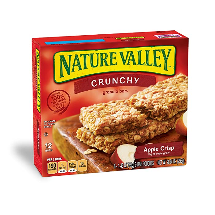 Nature Valley Granola Bars, Crunchy, Apple Crisp, 6 Pouches - 1.5 oz, 2-Bars Per Pouch