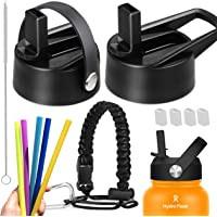 14PCs Wide Mouth 2 Hydro Flask Straw Lids with 6 Silicon Straws, 1 Paracord with Ring & carabiner,4 Silicon Nozzle Cap,1 Cleaning Brush for sports water bottle. Leak Proof and BPA Free hydroflask Cap