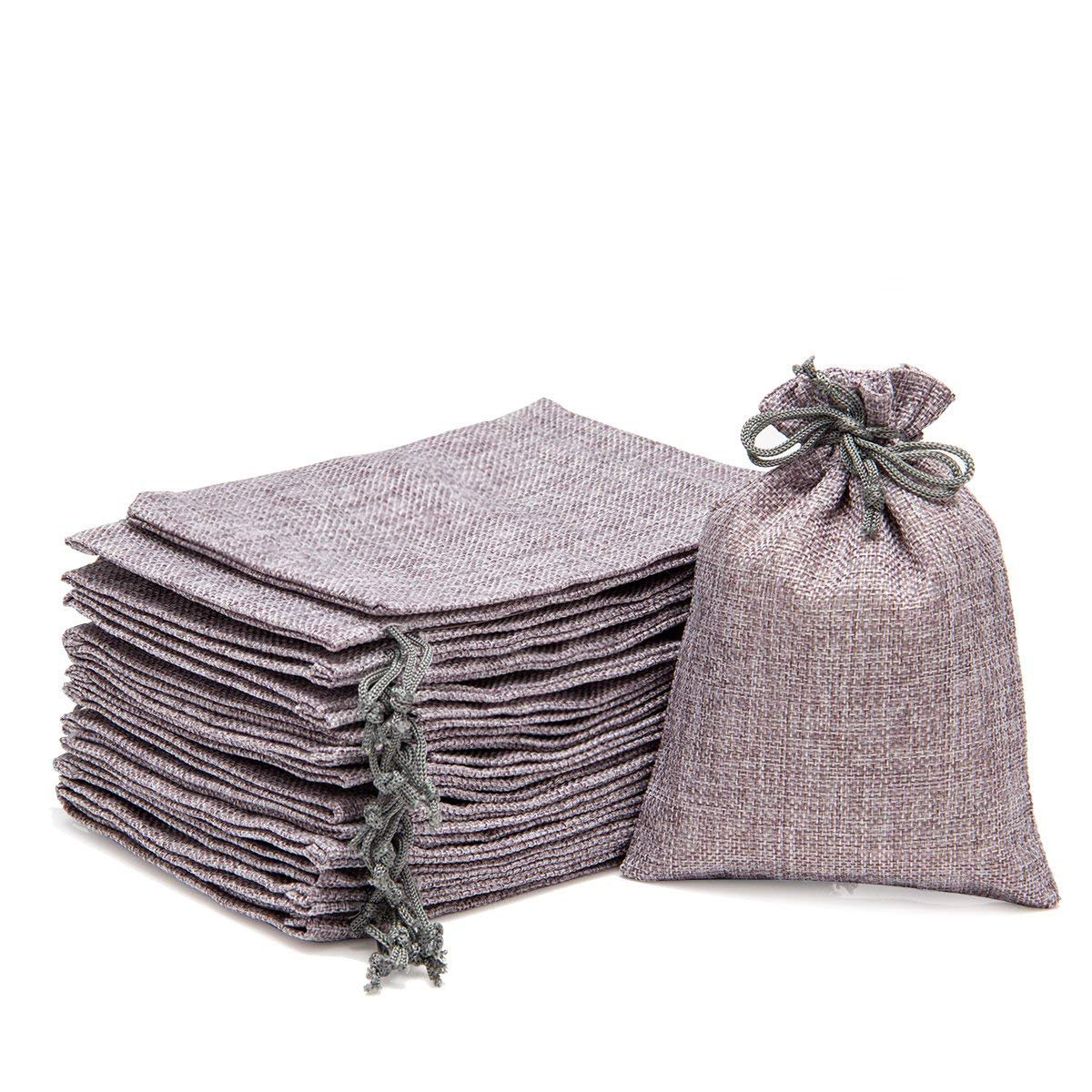 ANPHSIN 30 Packs Burlap Bag with Drawstring - 7.1'' x 4.9'' Gift Bag Jewelry Pouches Sacks for Wedding Favors, Party, DIY Craft and Christmas- Gray