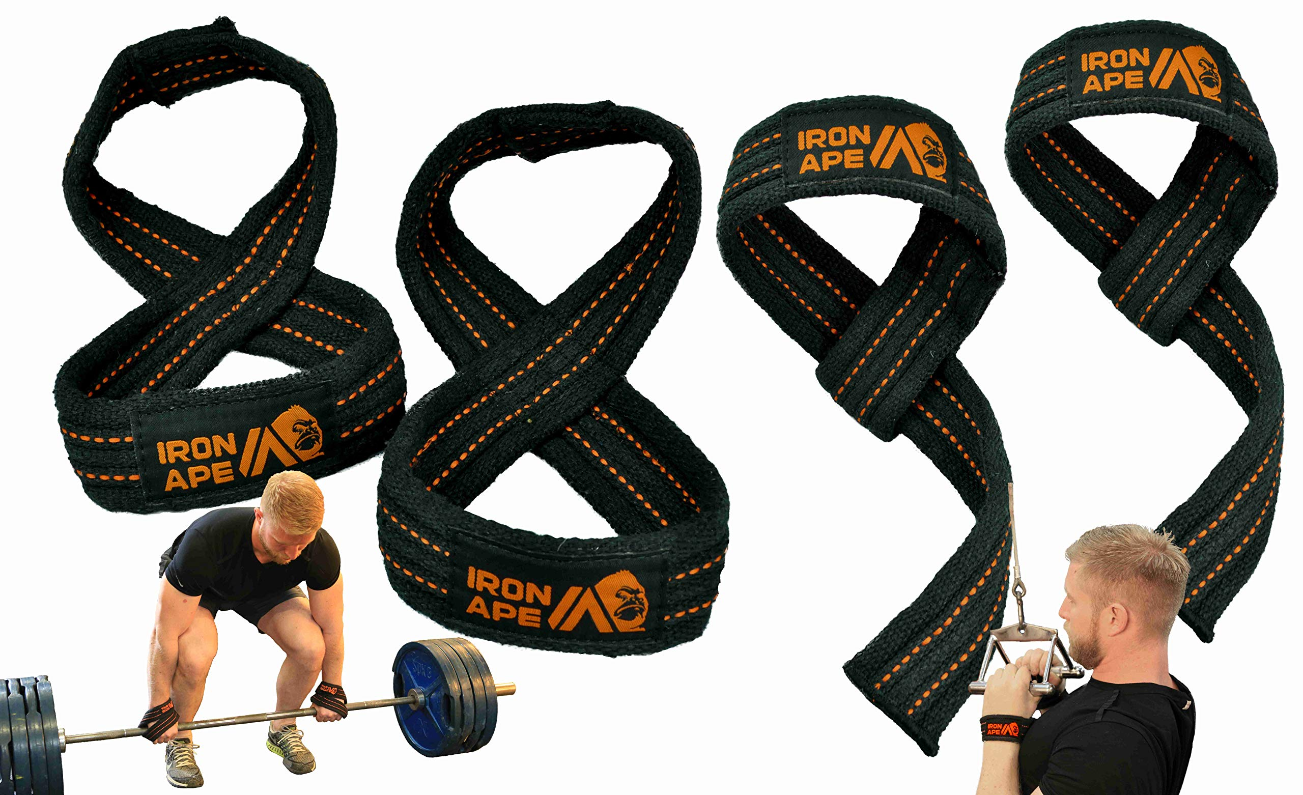 IRON APE Figure 8 Straps and Traditional Weightlifting Wrist Straps for Weight Lifting and Deadlift, Multi Pack, Cotton, 3 Sizes (Medium)