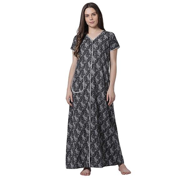 c3ab1ede7de Goldstroms Minelli Women s Cotton Fabric Front Button Open Night Gown Black