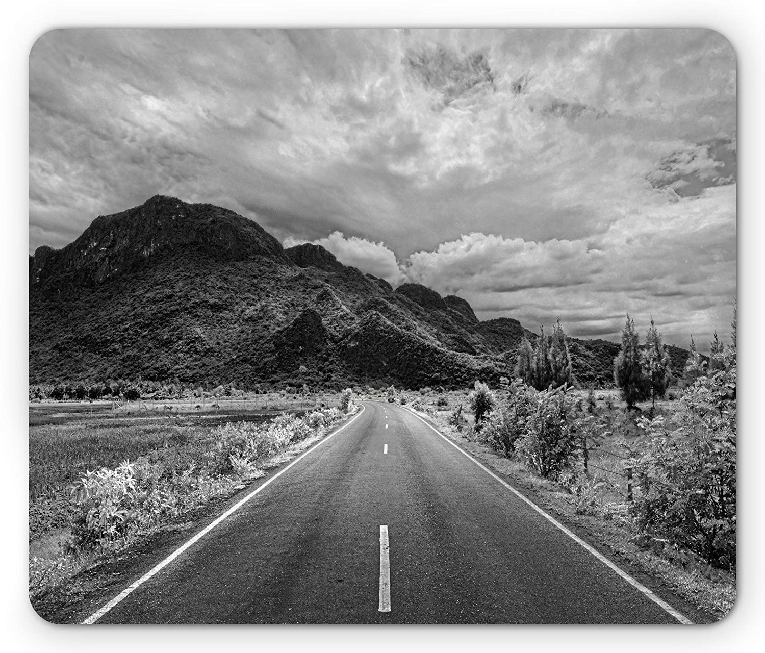 Landscape mouse pad black and white artsy photo of the road leading to a mountain artsy monochrome panorama standard size rectangle non slip rubber