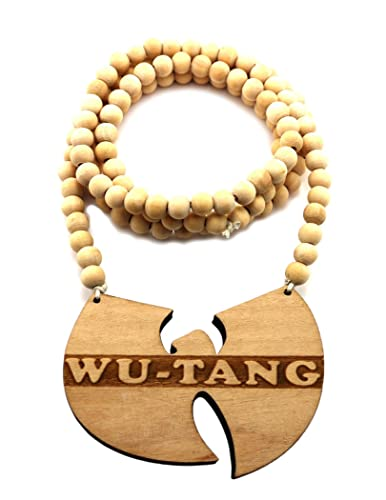 Wu tang clan wood pendant 914cm wooden bead chain hip hop necklace wu tang clan wood pendant 914cm wooden bead chain hip hop necklace in natural aloadofball Images
