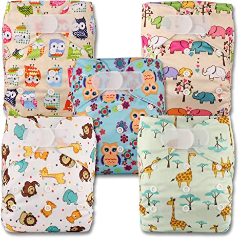 Littles /& Bloomz Fastener: Popper Set of 5 with 5 Microfibre Inserts Patterns 514 Reusable Pocket Cloth Nappy