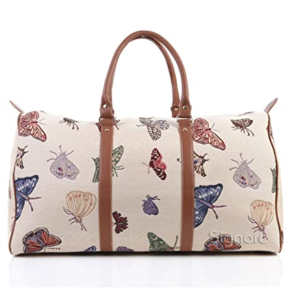 84113b89bfc9 Signare Womens Fashion Canvas Tapestry Travel Weekend Overnight Bag in  Butterfly Design  Amazon.co.uk  Luggage