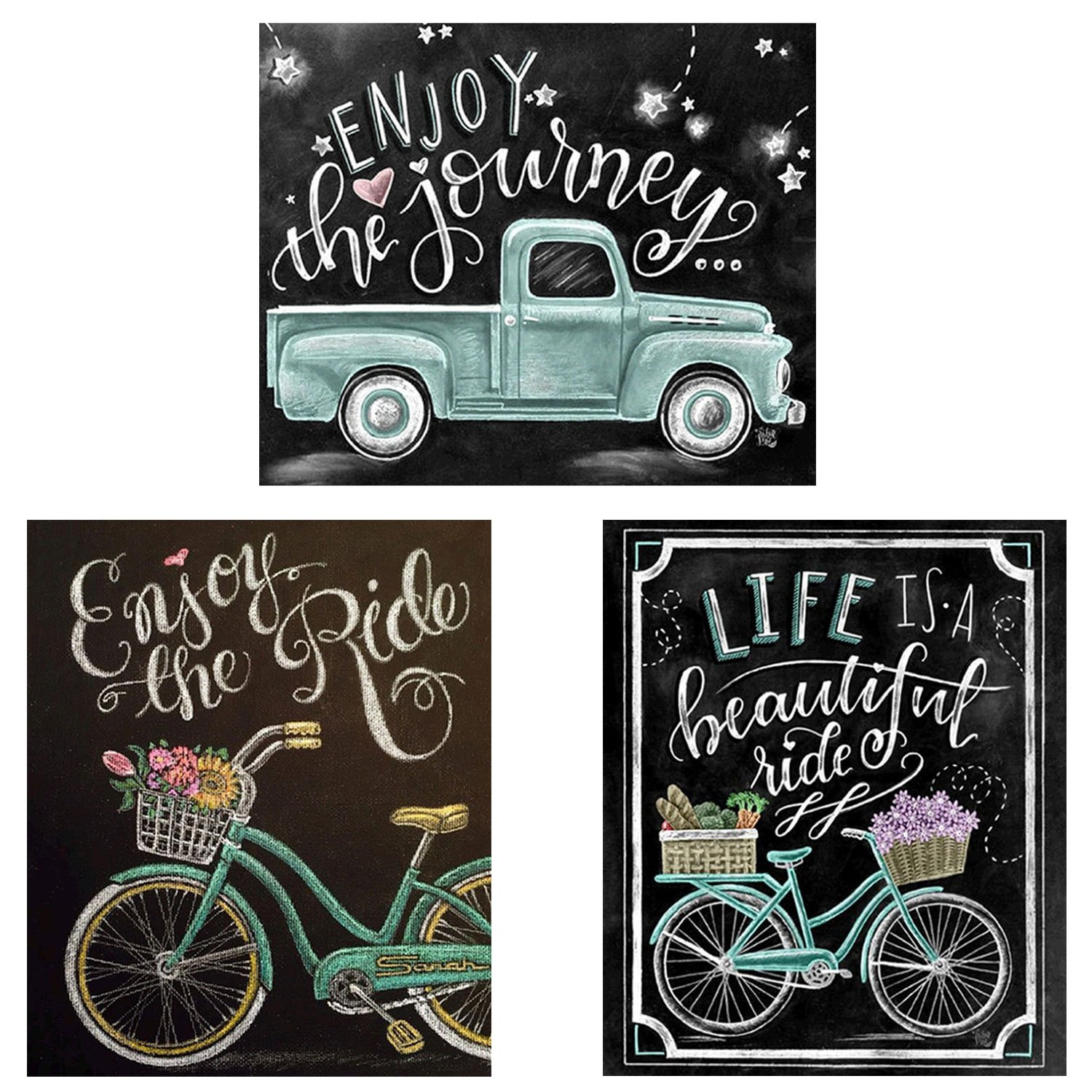 3 Pack DIY 5D Diamond Painting Kit Full Drill Painting Diamond Sticker Stitch Painting Sets New Style Blackboard Cute Newspaper Painting Novel Toys for Children(10'' x 12''/25cm x 30cm)