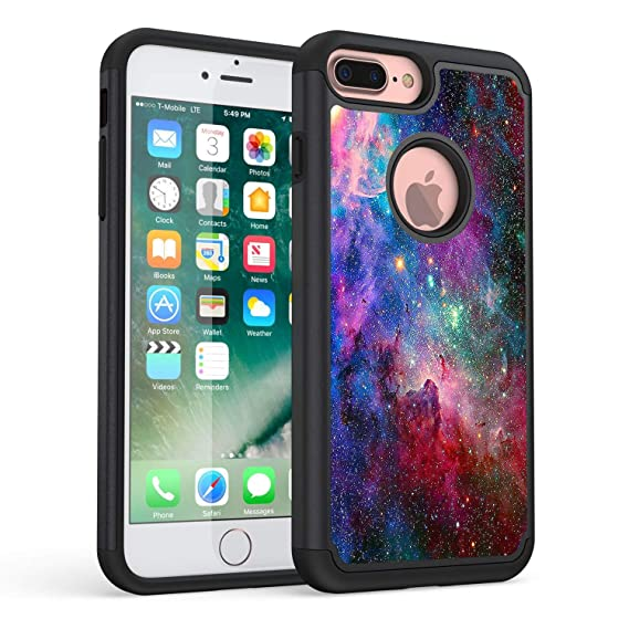 iPhone 8 Plus Case,iPhone 7 Plus case,Rossy Blue Nebula Galaxy Space Universe Pattern Shock-Absorption Hybrid Dual Layer Armor Defender Protective ...