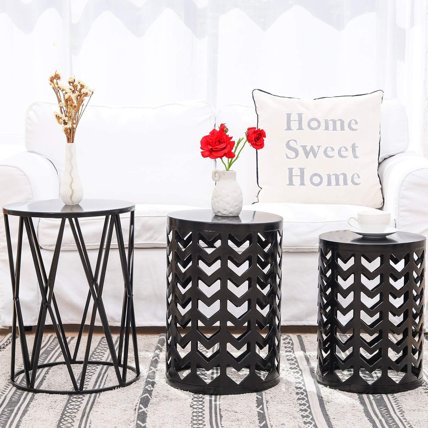 Nesting Round Metal Indoor Coffee End Tables, Set of 3 Modern Farmhouse Nightstands Decor Sofa Side Tables Plant Stand for Living Room Balcony Home Garden Stool Patio Outdoor- Black (Ship from US)