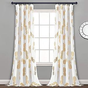 "Lush Decor Pineapple Set Long Window Curtain Panel Pair, 52"" x 84"" (Gold)"