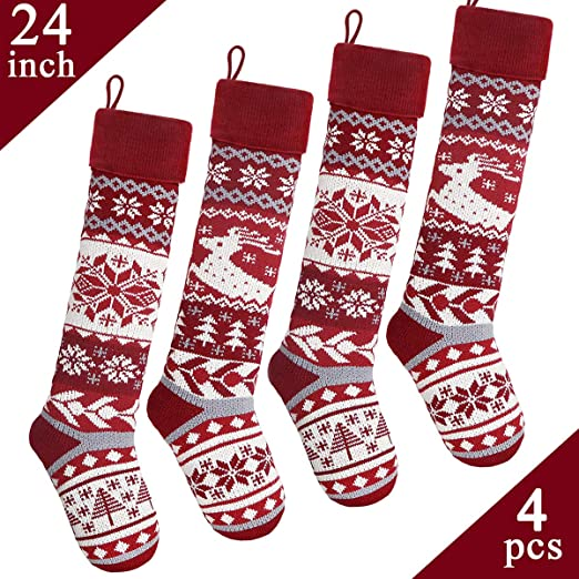 Christmas Stockings 4 Pack with 4 Stocking Holders Hooks 18.5 Inch Knit Knitted Xmas Stocking Snowflakes Reindeer Decorations for Family Holiday