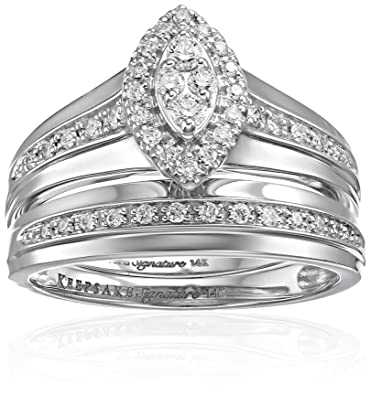 Amazoncom Keepsake Signature 14k White Gold Diamond Marquise