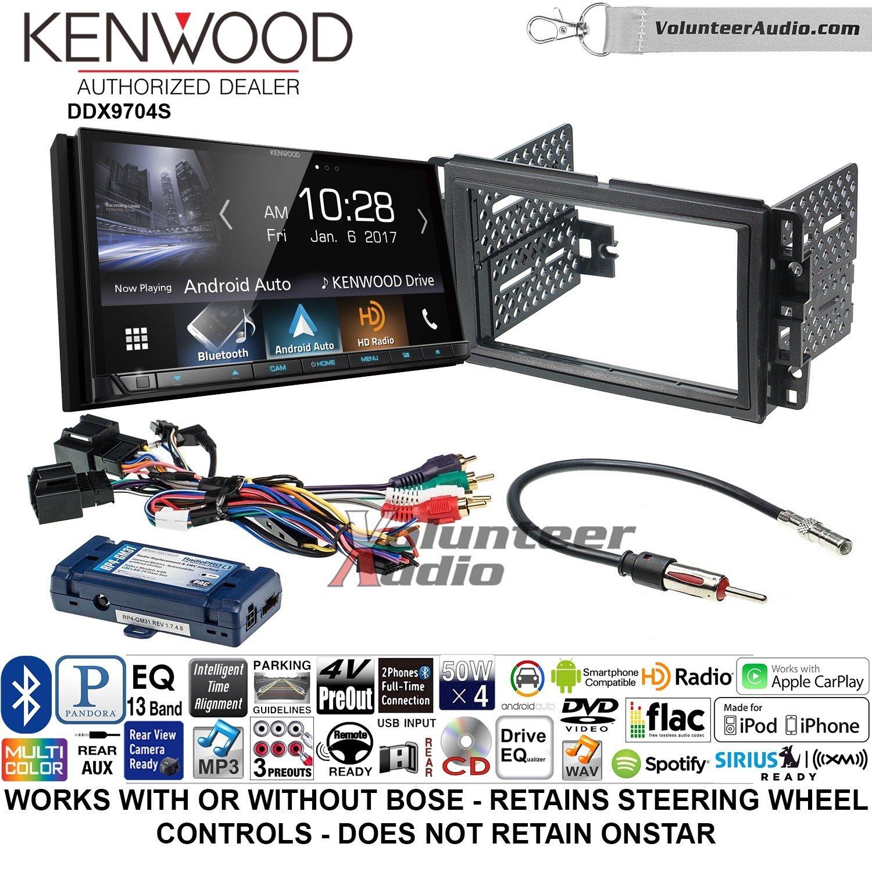 ボランティアオーディオKenwood ddx9704sダブルDINラジオインストールキットwith Apple CarPlay Android自動Fits 2007 – 2013 Silverado、Avalanche ( Retainsステアリングホイールコントロール) B07BZLG4C8